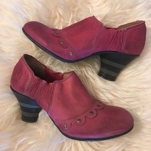 Burgundy Fly London leather booties